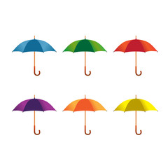 different color umbrellas vector illustration