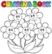 Coloring book with five flowers