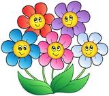 Pět karikatura květiny