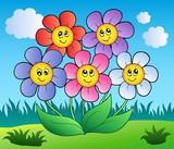 Pět karikatura květiny na louce