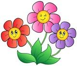 Tři karikatura květiny
