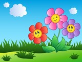 Tři kreslené květiny na louce