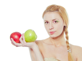 woman with green and red apple isolated on white