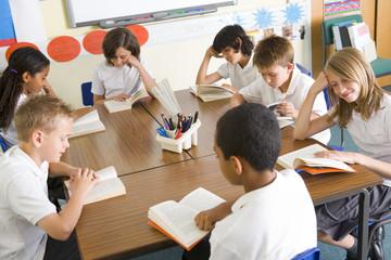 Schoolchildren reading books in class