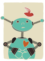 Robot looking at bird on head retro style illustration