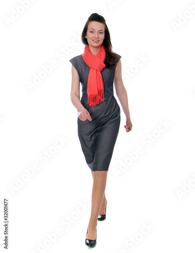 Cute businesswoman isolated on the white background