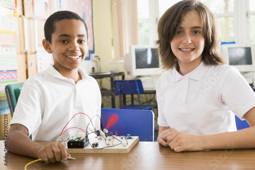 Schoolchildren in a science class