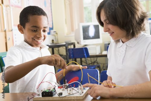 Schoolchildren in a science class