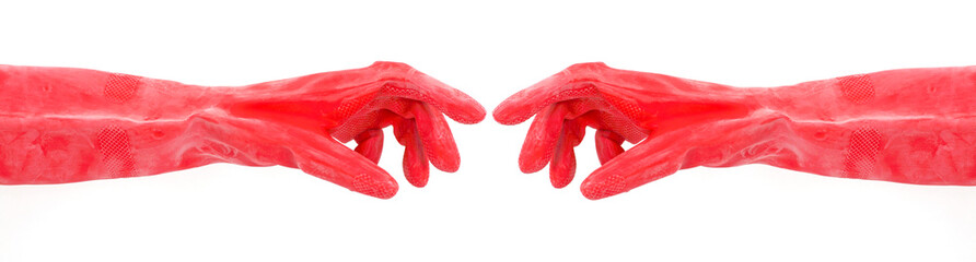 Industrial Plastic Gloves Reaching Out