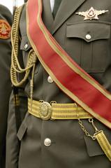 Army dress parade uniform.