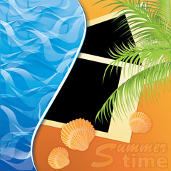 Summer time. Photo card on sand beach of a sea. vector