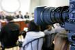 Leinwanddruck Bild - TV camera at press conference.