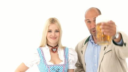 Woman in Dirndl and Man with Beer