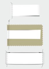 Etichette di tessuto con cuciture