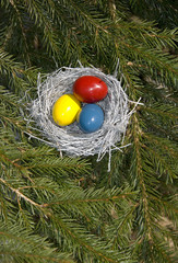 Silver Easter bird's nest with painted eggs.