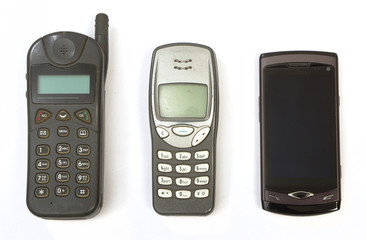 Cell phones from three generations
