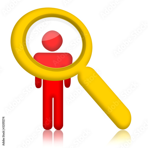 Person and magnifier glass over white background