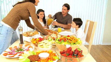 Young Family Healthy Eating Together