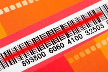 Bar code with red scanner laser