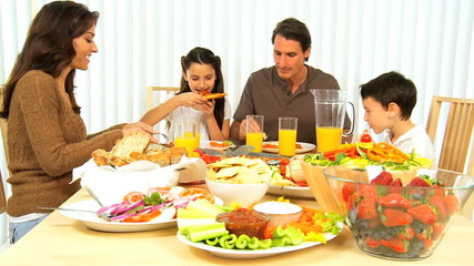 Family Eating Healthy Food at Home