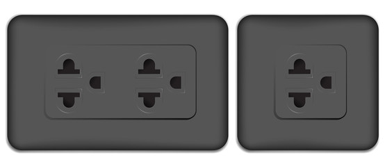black electrical outlet isolated on white background