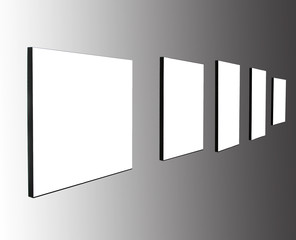 Five frames on white wall