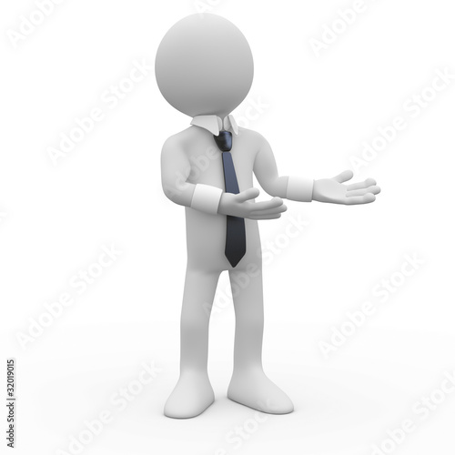 Businessman still, pointing with both hands to the side