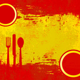 Fototapety Spanish Menu Vector template over flag of Spain