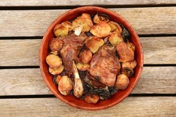 Lamb meat roast oven on clay casserole potatoes