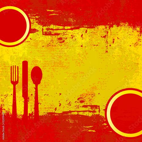 Spanish Menu Vector template over flag of Spain