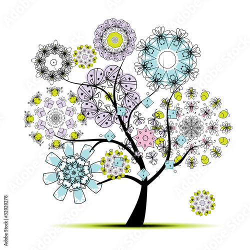 Floral art tree for your design © Kudryashka