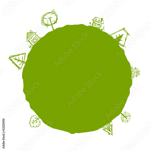 Green frame with houses and trees for your design