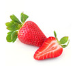 Strawberries whole and sliced piece isolated on white background