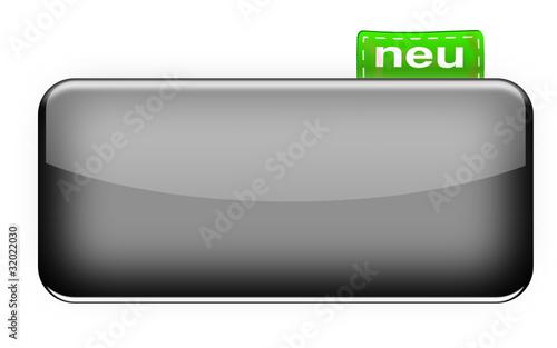 Glossy Button mit Etikett grau