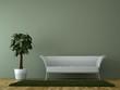 Sofa Rendering mit Pflanze grün