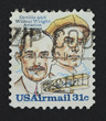 Wright brothers on a postage stamp