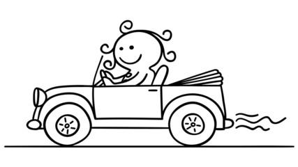 figur frau fährt auto