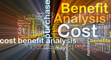 Cost benefit analysis background concept glowing poster