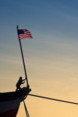 American flag on bow of ship