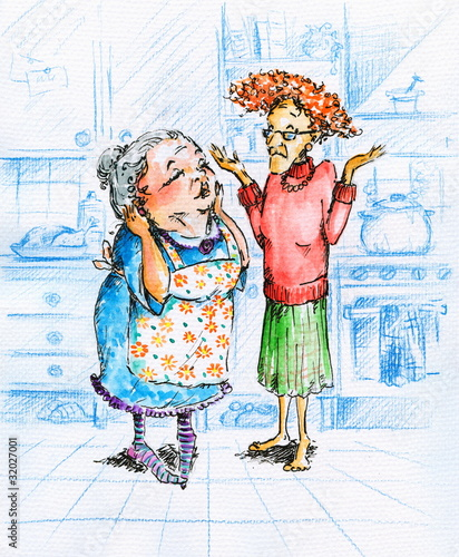 Two grandmothers talking in kitchen.