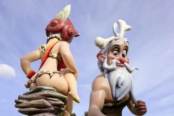 Fallas Valencia figures rear nude woman fun cartoons