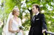 Portrait of happy bride and groom