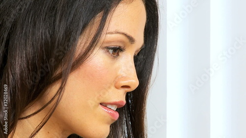 Face of Brunette Girl Concentrating