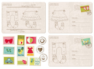 Set of Baby Arrival Postcards with stamps