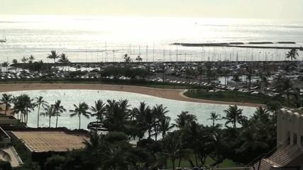 beach resort in evening