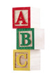 Wooden alphabet blocks with clipping path