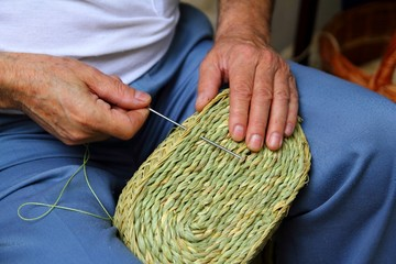craftsman sewing basket esparto grass weaver