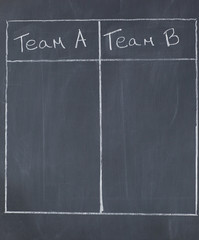 Table opposing team A and team B