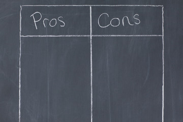 Table confronting pros and cons