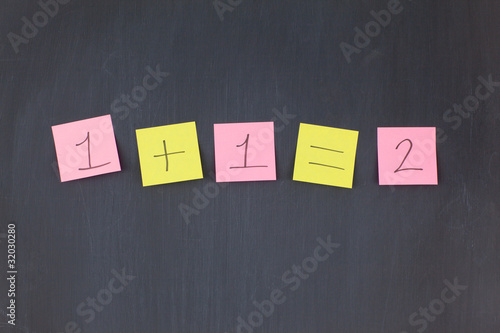 Pink and yellow sticky notes in a row on a blackboard